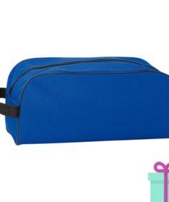 Schoen opbergtasje bedrukken blauw