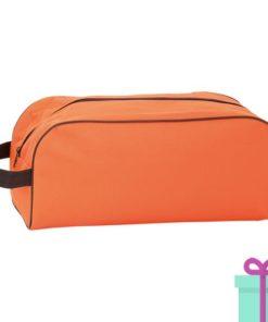 Schoen opbergtasje bedrukken oranje