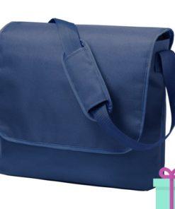 Schoudertas postmanbag blauw bedrukken
