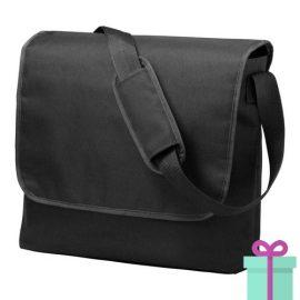 Schoudertas postmanbag zwart bedrukken