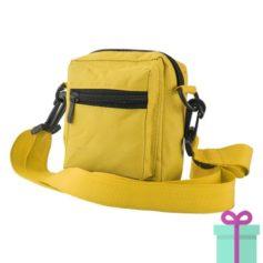 Schoudertasje polyester geel bedrukken
