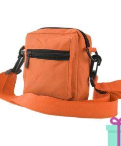 Schoudertasje polyester oranje bedrukken