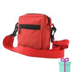 Schoudertasje polyester rood bedrukken