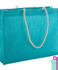 Shopper goedkoop bedrukken tas blauw bedrukken