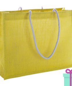 Shopper goedkoop bedrukken tas geel bedrukken