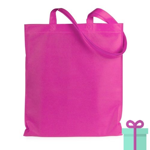Shopper non-woven budget roze bedrukken