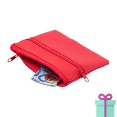 Sleutel etui portemonnee rood bedrukken