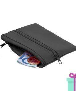 Sleutel etui portemonnee zwart bedrukken