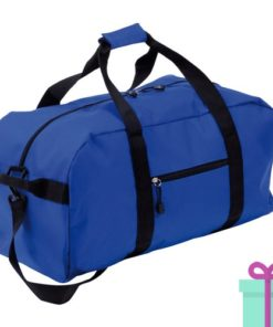 Sporttas groot met schouderriem blauw bedrukken