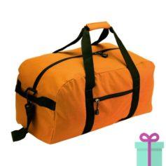 Sporttas groot met schouderriem oranje bedrukken