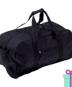Sporttas groot met schouderriem zwart bedrukken