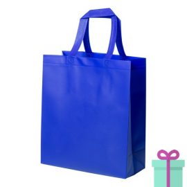 Stevige shopper met bodem blauw bedrukken