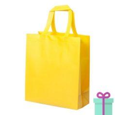 Stevige shopper met bodem geel bedrukken