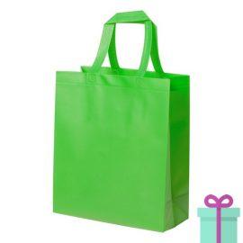 Stevige shopper met bodem groen bedrukken