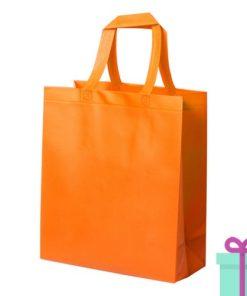 Stevige shopper met bodem oranje bedrukken