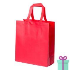 Stevige shopper met bodem rood bedrukken