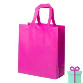 Stevige shopper met bodem roze bedrukken