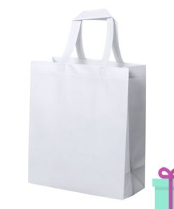 Stevige shopper met bodem wit bedrukken