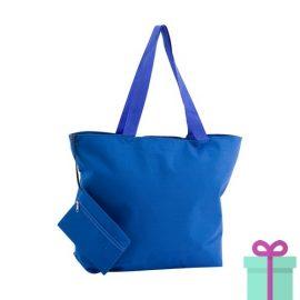 Strandtas met make-up tasje blauw bedrukken