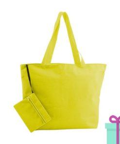 Strandtas met make-up tasje geel bedrukken