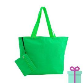 Strandtas met make-up tasje groen bedrukken