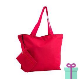 Strandtas met make-up tasje rood bedrukken