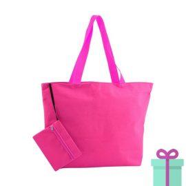 Strandtas met make-up tasje roze bedrukken