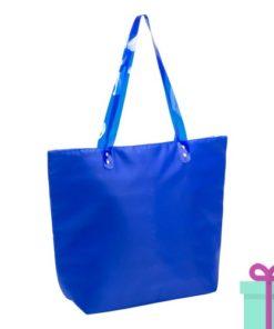 Strandtas shopper met rits blauw bedrukken