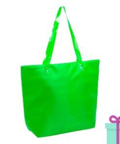 Strandtas shopper met rits groen bedrukken