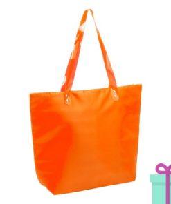 Strandtas shopper met rits oranje bedrukken