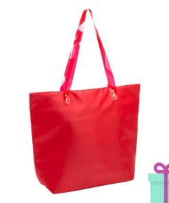 Strandtas shopper met rits rood bedrukken