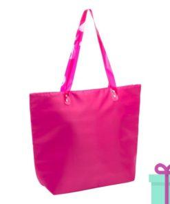Strandtas shopper met rits roze bedrukken
