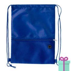 Trekkoord tas hoofdtelefoon uitgang blauw bedrukken