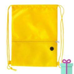 Trekkoord tas hoofdtelefoon uitgang geel bedrukken