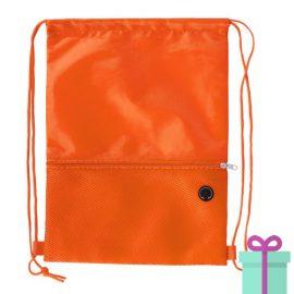 Trekkoord tas hoofdtelefoon uitgang oranje bedrukken