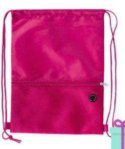 Trekkoord tas hoofdtelefoon uitgang roze bedrukken