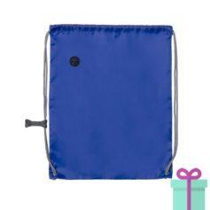 Trekkoord tas met clip blauw bedrukken