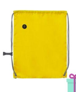 Trekkoord tas met clip geel bedrukken