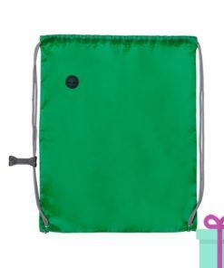Trekkoord tas met clip groen bedrukken