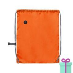 Trekkoord tas met clip oranje bedrukken