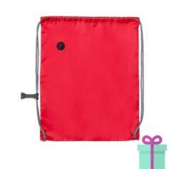 Trekkoord tas met clip rood bedrukken