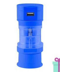 USB oplader wereldstekker blauw bedrukken