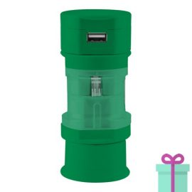 USB oplader wereldstekker groen bedrukken