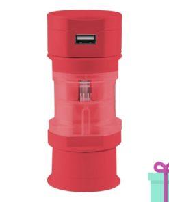 USB oplader wereldstekker rood bedrukken