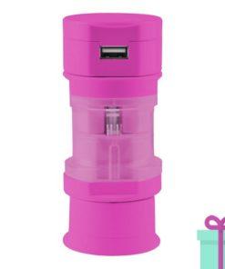 USB oplader wereldstekker roze bedrukken
