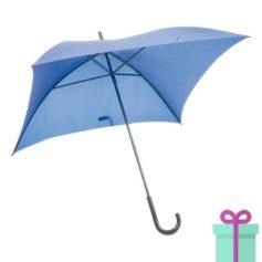 Vierkante paraplu budget blauw bedrukken
