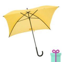 Vierkante paraplu budget geel bedrukken