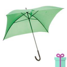 Vierkante paraplu budget groen bedrukken