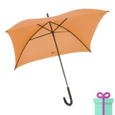 Vierkante paraplu budget oranje bedrukken
