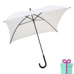 Vierkante paraplu budget wit bedrukken